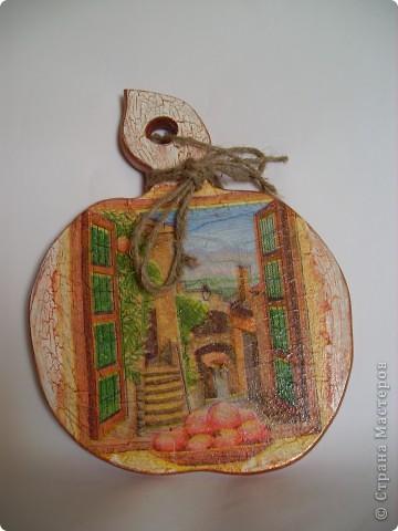 """Досочка  """"Осень"""". заготовка, салфетка, акриловые краски, лак. фото 6"""