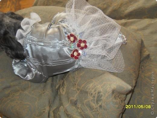 Сидя. Платье из чистого шелка, с рюшами и оборками и еще тесемками, бусинами и паетками. фото 3