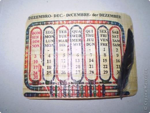 Попал мне в руки презент из Египта - календарь на папирусе! Добавила перышки, и теперь не сомневаюся, что это карточки АТС фото 2