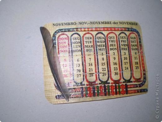 Попал мне в руки презент из Египта - календарь на папирусе! Добавила перышки, и теперь не сомневаюся, что это карточки АТС фото 4