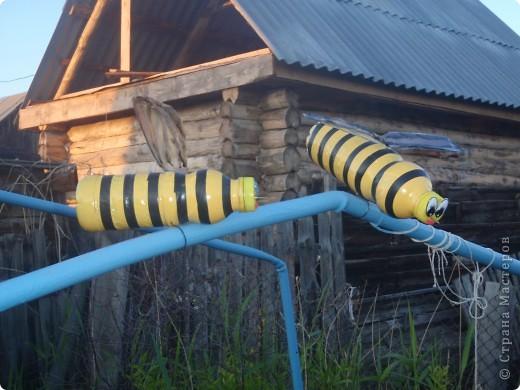 К нав сад прилетели пчелки. Сделаны из пластиковой бутылки, покрашены масляной краской, полоски- черная изолента, крылья- белая пластиковая бутылка, прожилки на крыльях - лак для ногтей черного цвета. фото 3