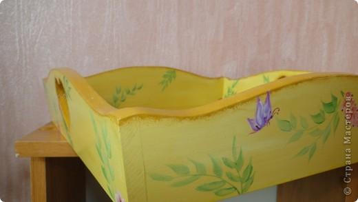 Деревянный поднос, акриловые краски, глянцевый лак. фото 2