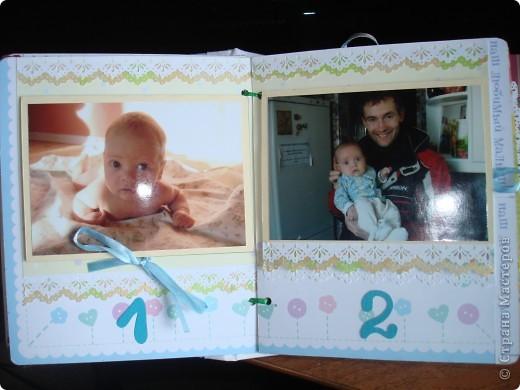 """Первый разворот,надпись которого- """"Бабушкина радость""""-это еще и название альбома. Подарок я делала на День Рождения своей маме, бабушке Данилы и конечно, мне очень хотелось ее порадовать! фото 3"""