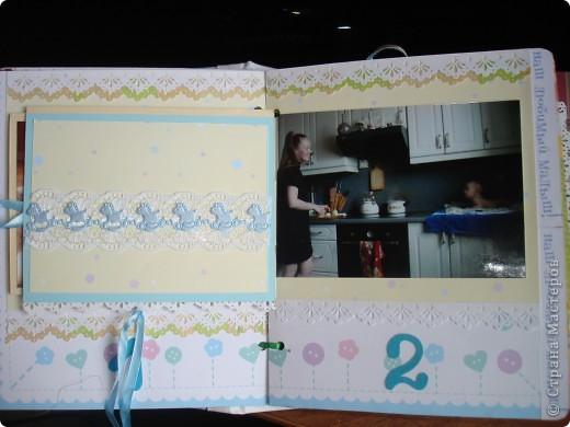 """Первый разворот,надпись которого- """"Бабушкина радость""""-это еще и название альбома. Подарок я делала на День Рождения своей маме, бабушке Данилы и конечно, мне очень хотелось ее порадовать! фото 5"""