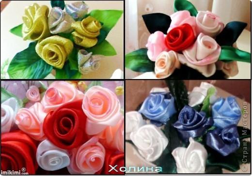 розы из лент...  фото 2