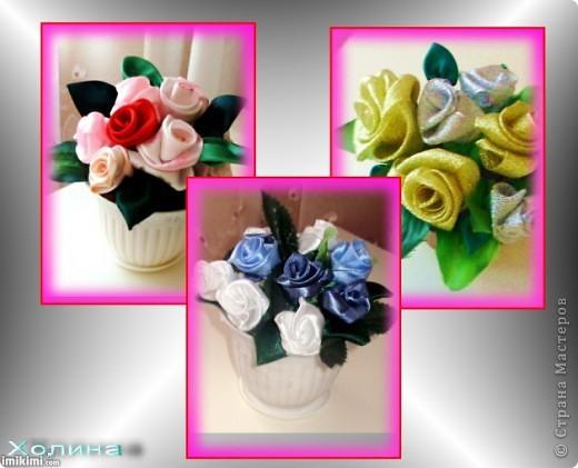 розы из лент...  фото 1