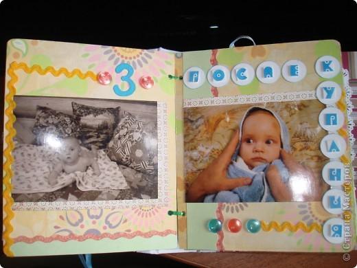 """Первый разворот,надпись которого- """"Бабушкина радость""""-это еще и название альбома. Подарок я делала на День Рождения своей маме, бабушке Данилы и конечно, мне очень хотелось ее порадовать! фото 6"""