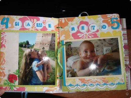 """Первый разворот,надпись которого- """"Бабушкина радость""""-это еще и название альбома. Подарок я делала на День Рождения своей маме, бабушке Данилы и конечно, мне очень хотелось ее порадовать! фото 7"""
