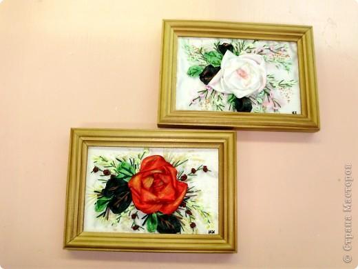 розы из лент...  фото 6