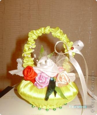 розы из лент...  фото 4