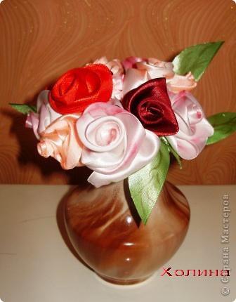 розы из лент...  фото 3