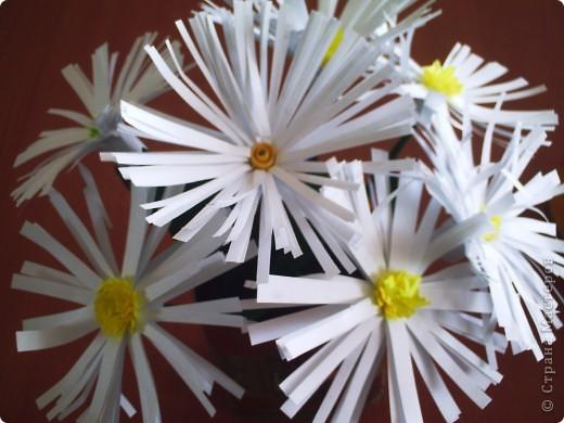 Делали  цветочки в классе с первоклассниками. И вдруг захотелось сделать именно ромашку. Каждый по одной, вот и букетик!!!!! фото 5