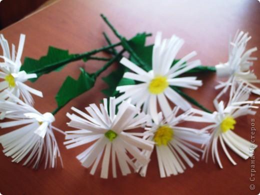 Делали  цветочки в классе с первоклассниками. И вдруг захотелось сделать именно ромашку. Каждый по одной, вот и букетик!!!!! фото 6