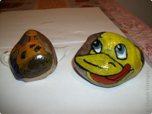 Доча решила раскрасить камушки, благо они лежат  под ногами нашей черепахи. Черепаха пропажу, по-моему, не заметила.  фото 3