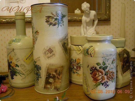 Набор из 5 предметов: 3 баночки под чай-кофе, бутылочка и тубус,который можно использовать для спагетти.  фото 2