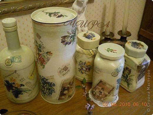 Набор из 5 предметов: 3 баночки под чай-кофе, бутылочка и тубус,который можно использовать для спагетти.  фото 3