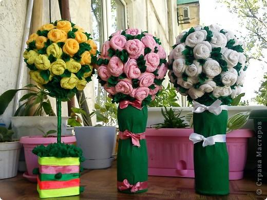 Эти  деревца из роз  сделала моя мама.  Я ей показала только один раз как делать такие розочки. И вот , у нее уже целый розовый сад!                   фото 1