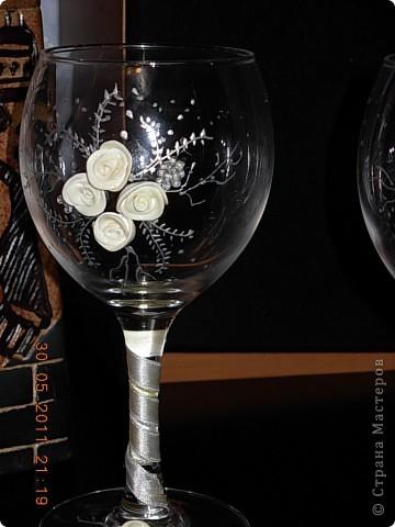 Бокалы -Белые розы фото 3