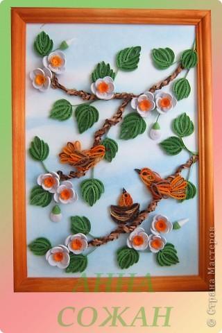 Здравствуйте  Милые Мастерицы! Вот такие птички -невелички поселились у меня дома.  Хочу выразить огромную благодарность  Мастерицам, благодаря которым  и родилась эта картина.  http://stranamasterov.ru/node/182301?c=favorite – птичка У Ларисы Анатольевны  http://stranamasterov.ru/node/180315?c=favorite – листочки у Ларисы  http://stranamasterov.ru/node/180315?c=favorite -  цветочки у Юлии      фото 1