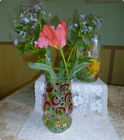 Набор для коньяка вот эти бокалы-нарисовала цветочки на другом-кисть винограда,но это не окончательный вариант,бутвлочка пока под ? фото 5