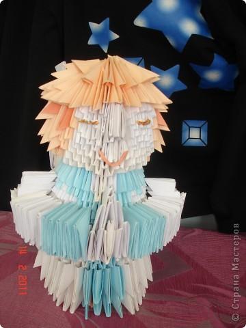 """Модульное оригами - ангел Решила опробовать модульное оригами, но т.к. птичек, которыми просто кишит в интернет, я не захотела делать поэтому подумал сотворить ангела на рождество) как ангела """"строить"""" придумывала уже по ходу работы) фото 2"""