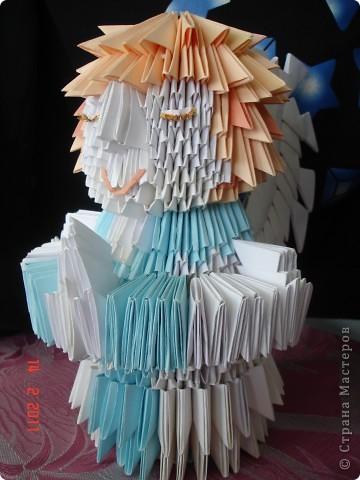 """Модульное оригами - ангел Решила опробовать модульное оригами, но т.к. птичек, которыми просто кишит в интернет, я не захотела делать поэтому подумал сотворить ангела на рождество) как ангела """"строить"""" придумывала уже по ходу работы) фото 1"""