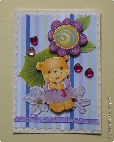 """Когда делала первую серию, накупила всяких ленточек, стразиков, цветочков. Да и медвежата были двух видов. Вот опять похожая серия """"Мишки-малышки"""" (девочки). фото 5"""