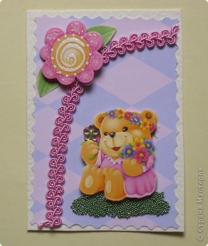 """Когда делала первую серию, накупила всяких ленточек, стразиков, цветочков. Да и медвежата были двух видов. Вот опять похожая серия """"Мишки-малышки"""" (девочки). фото 2"""
