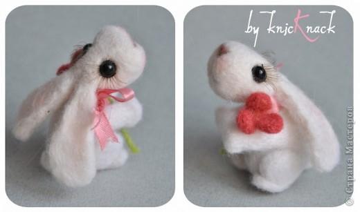 заказ на 10 ушастых был сделан к новому году - году кролика!) материал - шерсть, пластика, пастель высота - 5-6 см фото 6