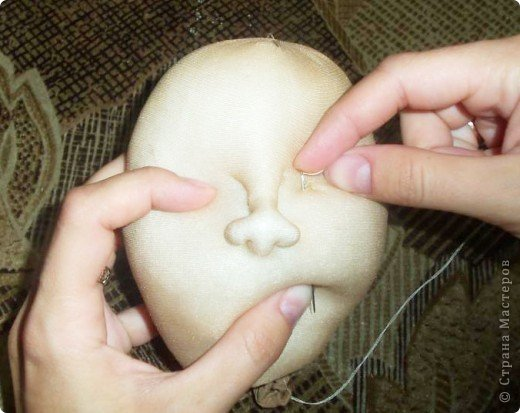 Здравствуйте! По просьбам некоторых участников Страны мастеров я попыталась сделать МК. По этому принципу я делаю лица своим девченкам. фото 15
