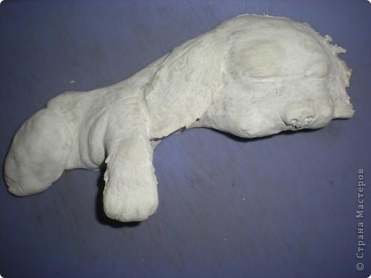 Картина панно рисунок Лепка Спящий щенок Гуашь Тесто соленое Ткань фото 3