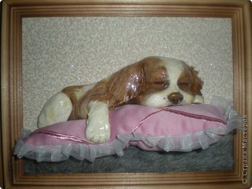 Картина панно рисунок Лепка Спящий щенок Гуашь Тесто соленое Ткань фото 6