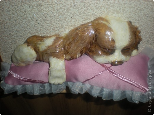 Картина панно рисунок Лепка Спящий щенок Гуашь Тесто соленое Ткань фото 10