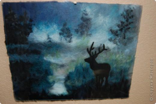 Олень в туманном лесу.