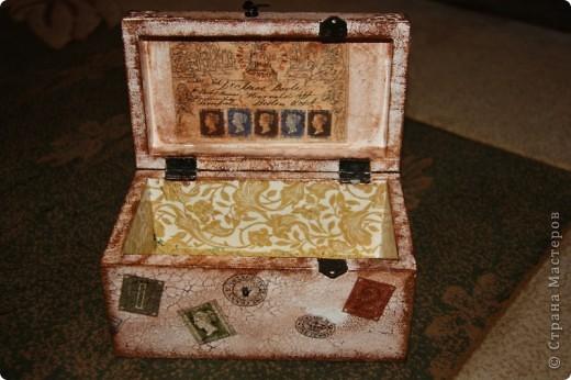 Этот сундучок я сделала для дедушке, т.к. он собирает монеты. Вот мое первое творение в мире сундучков и шкатулок. Сейчас расскажу чем я пользовалась. фото 7