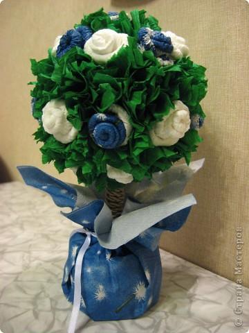 Вот такое европейское деревце появилось у меня вчера, сделала в подарок институтской подруге, с которой не виделись несколько лет))) Вырастила его за один вечер с розами цвета неба... фото 4