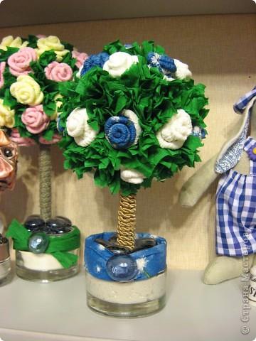 Вот такое европейское деревце появилось у меня вчера, сделала в подарок институтской подруге, с которой не виделись несколько лет))) Вырастила его за один вечер с розами цвета неба... фото 5