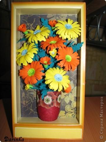 Приветствую всех,кто зашёл ко мне в гости!!!  Ромашки-мои любимые цветы,и вот наконец-то руки дошли и до них.Оранжевых ромашек я конечно не встречала,но захотелось чего то яркого и солнечного.Надеюсь,что получилось не плохо. фото 2