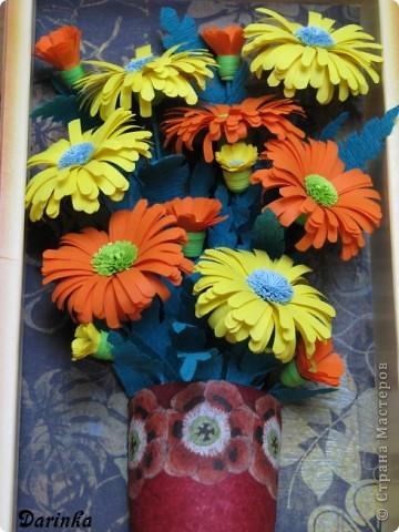 Приветствую всех,кто зашёл ко мне в гости!!!  Ромашки-мои любимые цветы,и вот наконец-то руки дошли и до них.Оранжевых ромашек я конечно не встречала,но захотелось чего то яркого и солнечного.Надеюсь,что получилось не плохо. фото 3