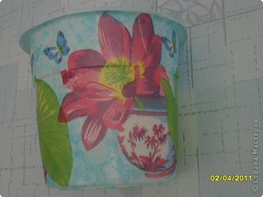 мои работы. Украшение цветочных горшков. фото 12