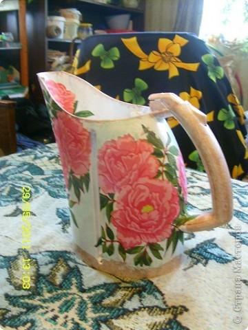 Огромное спасибо IZOLENA  за такую идею http://stranamasterov.ru/node/119177 ;наконец-то всё совпало и чайник попался какой хотелось и на улице дождик и настроение творить... фото 2