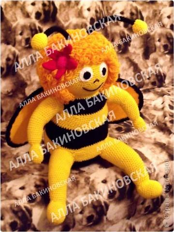 Пряжа акрил. Рост 45 см. Всегда мечтала связать пчелу Майю. В детстве очень любила этот мультик. Вот и связалась у меня такая пчёлка (по мультику). Описания к сожалению нет. фото 2