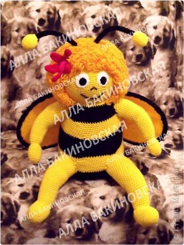 Пряжа акрил. Рост 45 см. Всегда мечтала связать пчелу Майю. В детстве очень любила этот мультик. Вот и связалась у меня такая пчёлка (по мультику). Описания к сожалению нет. фото 1