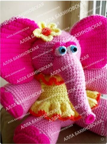 Розовая слониха Роза. Пряжа акрил. Рост 32 см. фото 4