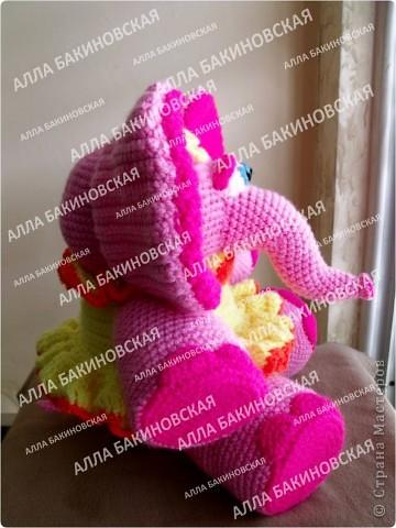 Розовая слониха Роза. Пряжа акрил. Рост 32 см. фото 3
