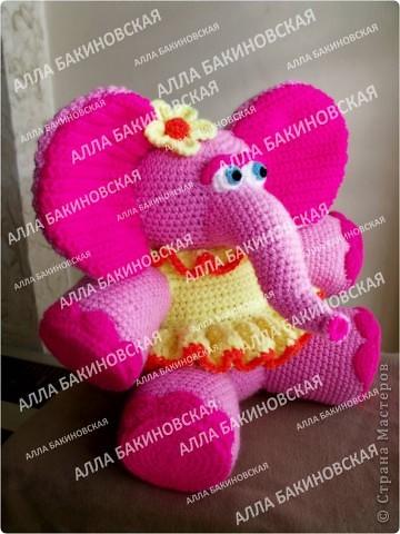 Розовая слониха Роза. Пряжа акрил. Рост 32 см. фото 2