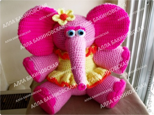 Розовая слониха Роза. Пряжа акрил. Рост 32 см. фото 1