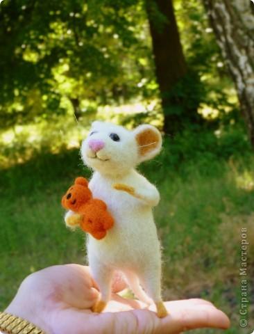 Мышонок Стёпка и его мишка. Мышонок Стёпка, большой любитель сыра и ценитель игрушек, никогда не расстаётся со своей любимой игрушкой:) фото 2
