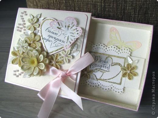 Всем доброго времени суток! Вот такой свадебный набор у меня получился. Давно хотела сделать конверт для дисков -все руки не доходили. Ну и очередной декор коробочки. фото 6