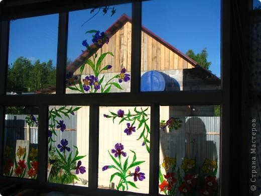 Продолжаю декорировать стекла на террасе в технике витраж. Работа далеко ещё не закончена, но очень уж хочется поделиться красотой (по моему мнению)! Это вид изнутри... фото 1